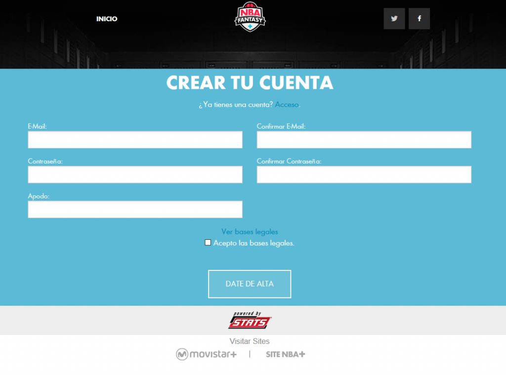Registro Usuario Fantasy NBA