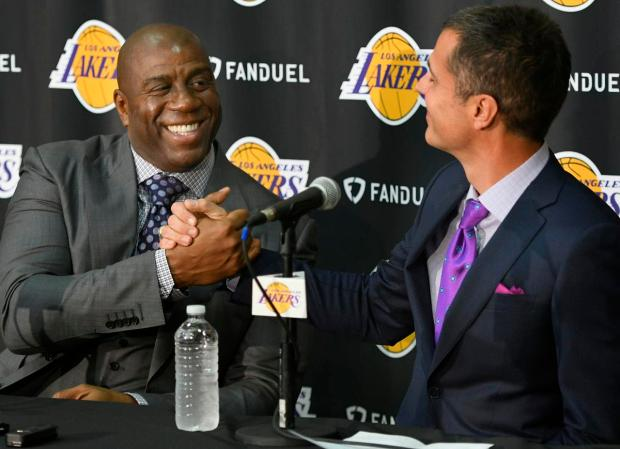 Magic Johnson shakes hands with Los Angeles Lakers new General Manager Rob Pelinka. El Segundo, CA 3/10/2017. Photo by John McCoy/Los Angeles Daily News (SCNG)